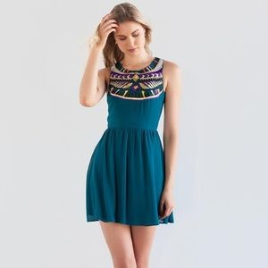 ALYA Teal Embroidered Sequin Party Dress Size Med